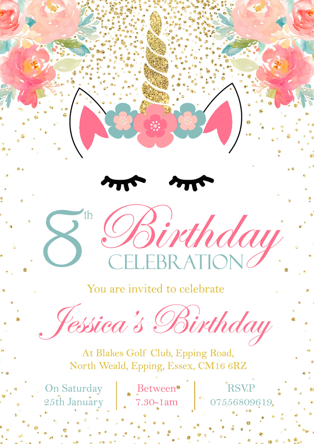 Magical Fantasy Unicorn Birthday Party Invitations ~ Personalised ...