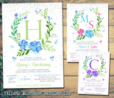 Christening Invitations Naming Day Baptism Floral Wreath