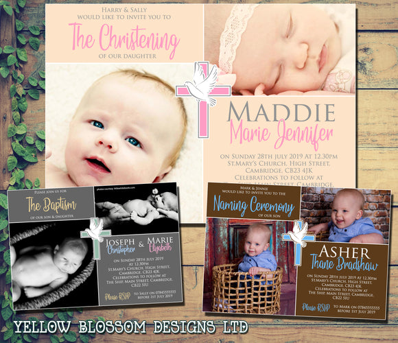 Cross & Dove Bird Christening Baptism Ceremony Naming Day Invitations