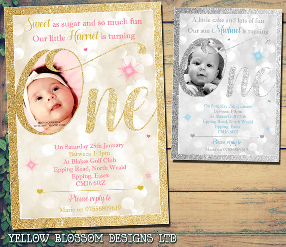 Personalised 1st ONE Birthday Invitations ~ Glitter Effect ~ Printed Photo