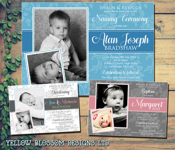 Cute Flowers Personalised 1st ONE Birthday Invitations ~ Glitter Effect ~ Printed Photo