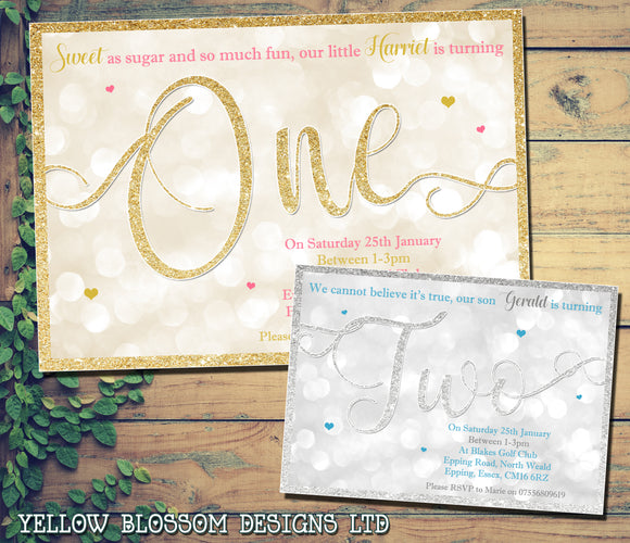 Glitter Effect One Two Three 1st 2nd 3rd Girls/Boys Birthday Invitations