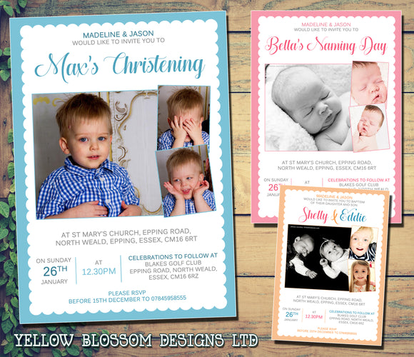 3 Photo Christening Baptism Ceremony Naming Day Invitations