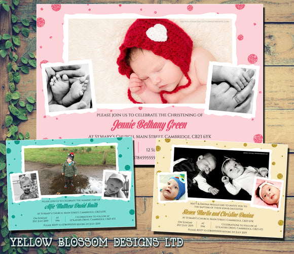 Dotty Photo Christening Baptism Ceremony Naming Day Invites