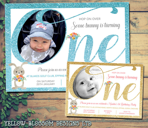 Vintage Invitations Some Bunny Is Turning ONE Glitter Effect First 1st Birthday