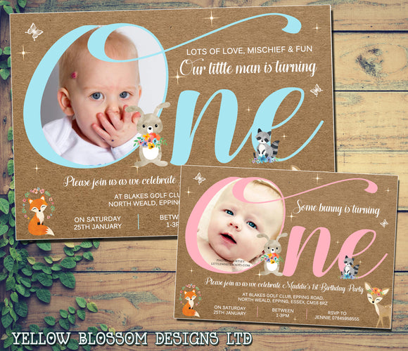Woodland Animals Invitations Premium Photo Cards ONE First Birthday 1st Boy Girl