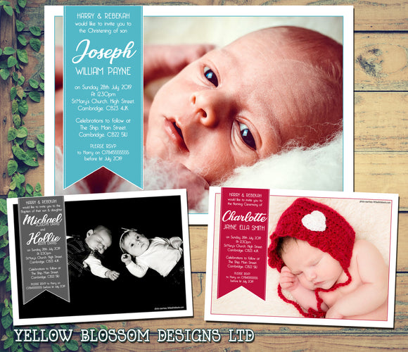 Full Photo Christening Baptism Ceremony Naming Day Invites