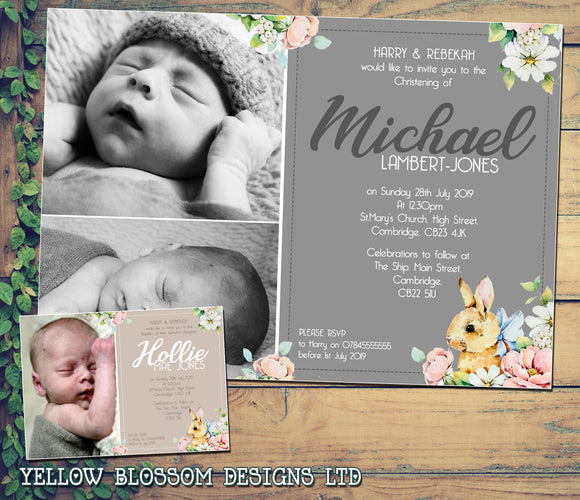 Cute Floral Rabbit Christening Baptism Ceremony Naming Day Invites