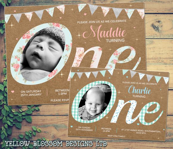 Shabby Vintage Invitations Turning ONE Glitter Effect First 1st Birthday