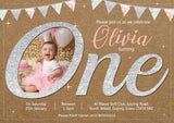 Glitter Effect Invitations Premium Photo Cards ONE First Birthday 1st Boy Girl