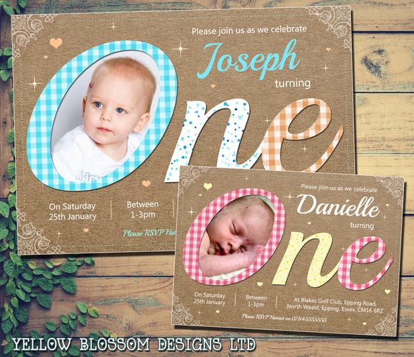 Gingham Invitations Premium Photo Cards ONE First Birthday 1st Boy Girl