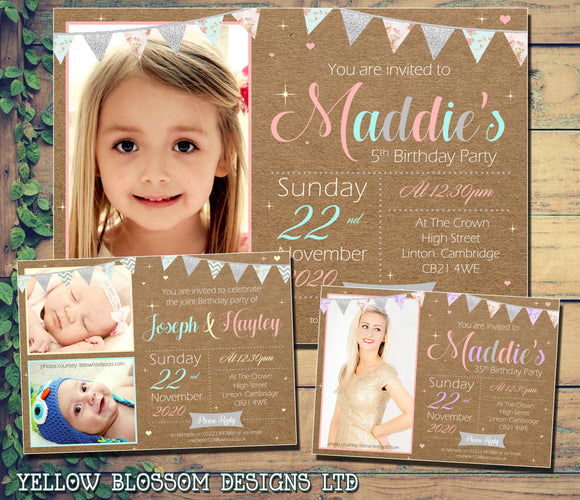 Premium Kids Birthday Party Invitations ~ Vintage / Shabby Chic ~ Boy Girl Twin