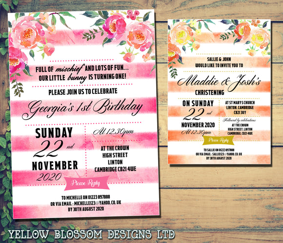 Premium Birthday / Christening Invitations ~ Peter Rabbit Themed