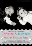 Birthday Party Invitations Multicolour Boy Girl Twins