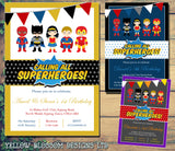 Superhero Bunting Birthday Party Invites