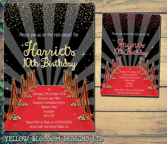 Red Carpet Invitations Gold