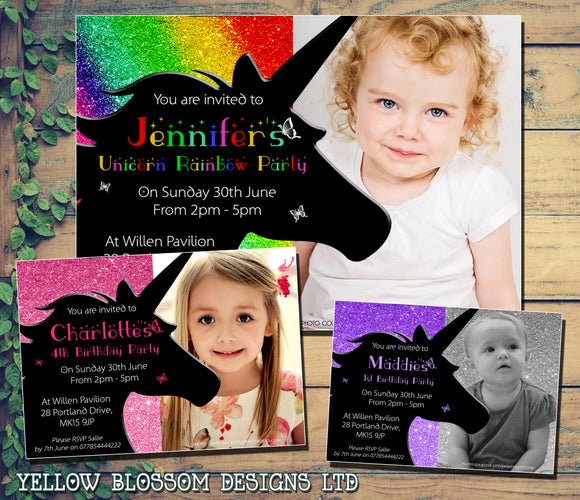 Unicorn Birthday Party Invitations Rainbow