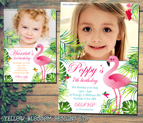 Tropical Birthday Party Invites Flamingo