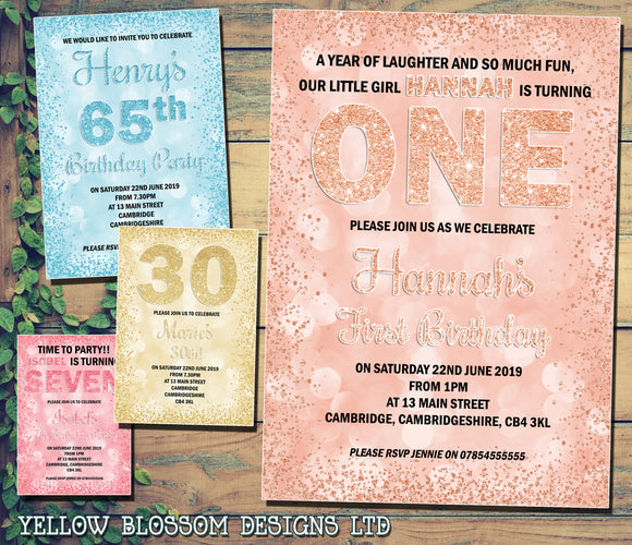 Birthday Party Invitations ~ Any Age / Any Colour