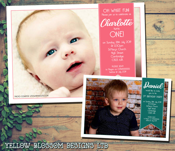 Modern Full Photo Birthday Party Invitations