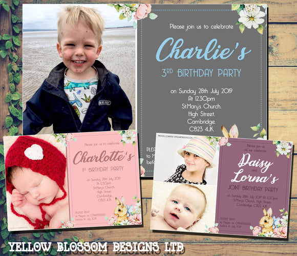 Cute Floral Rabbit Birthday Party Photo Invitations