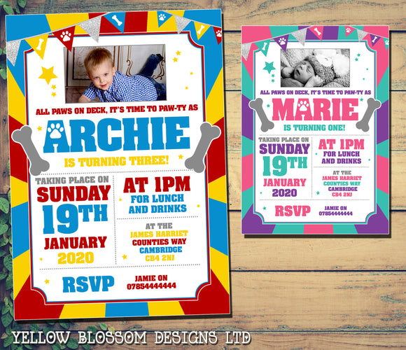 Personalised Birthday Invitations Printed Photo Invites Paw Bone Dog Theme