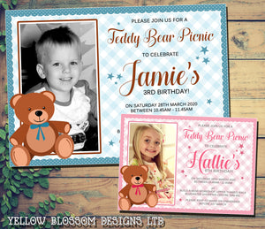 Cute Brown Teddy Bear Picnic Blanket Children's Party Invitations