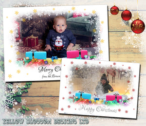 Fantasy Snowflake Border Personalised Folded Flat Christmas Photo Cards Family Child Kids ~ QUANTITY DISCOUNT AVAILABLE