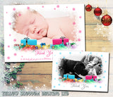Boys Girls Fantasty Snowflake Border Personalised Folded Flat Christmas Thank You Photo Cards Family Child Kids ~ QUANTITY DISCOUNT AVAILABLE