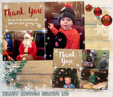 Rustic Personalised Photo Christmas Thank You Cards Printed High Quality