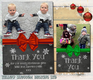 Kids Christmas Thank You Cards With Photo & Envelopes FREE P&P