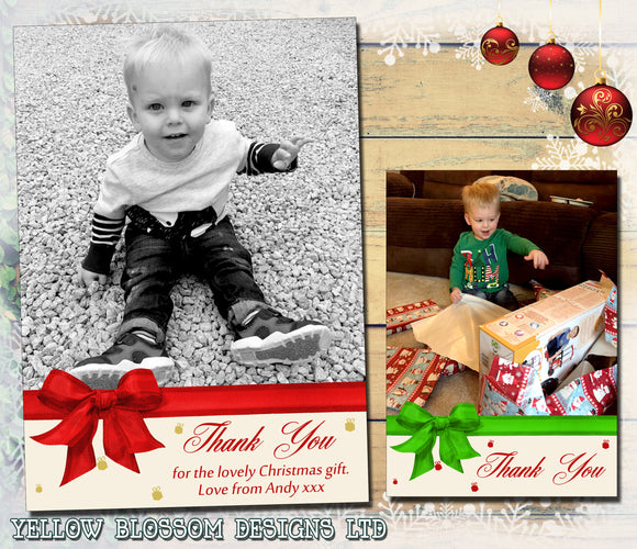 Classic Bow Contemporary Christmas Thank You Cards With Photo