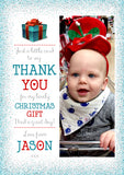 Personalised Kids Thank You Photo Cards Christmas Xmas ~ Glitter Effect
