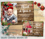 Rustic Wood Background Effect Reindeer Thank You Cards With Photo