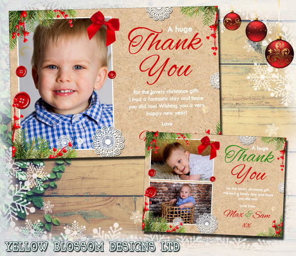 Rustic Doily Button Festive Florals Christmas Photo Thank You Cards
