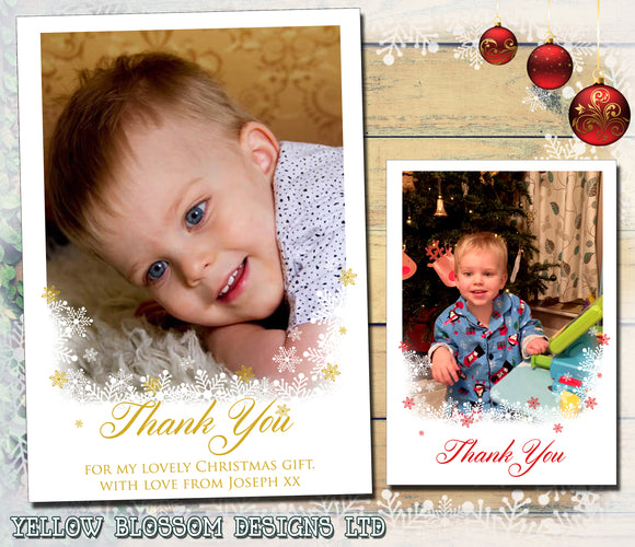 Thank You Cards With Photo Christmas Xmas Snowy Bottom
