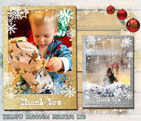 Thank You Cards With Photo Christmas Xmas Glitter Effect Printed Border