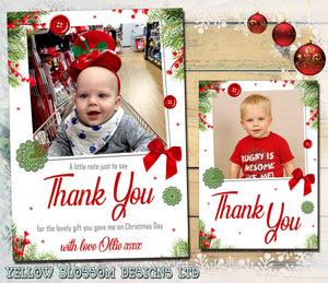 Thank You Cards With Photo Christmas Festive