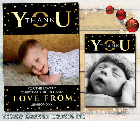 Thank You Cards With Photo Christmas Gold Classic Effect Printed