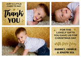 Thank You Cards With Photo Christmas Xmas Gold Silver