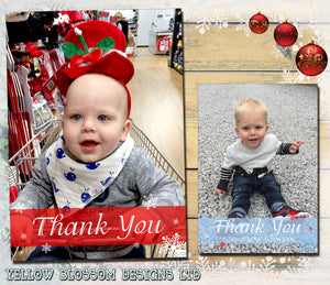 Shabby Chic Vintage Personalised Folded Flat Christmas Thank You Photo Cards Family Child Kids ~ QUANTITY DISCOUNT AVAILABLE