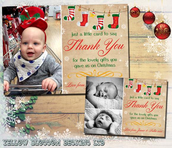 Vintage Rustic Stocking Bunting Personalised Folded Flat Christmas Thank You Photo Cards Family Child Kids ~ QUANTITY DISCOUNT AVAILABLE