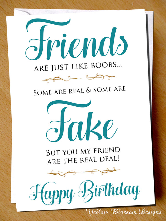 Friendship Birthday Card ~ Just Like Boobs ~ Comical Funny Alternative