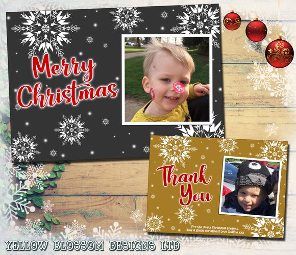 Christmas Photo Greeting Cards Snowflakes Chalkboard Gold