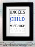 Naughty Uncles ~ Personalised Bespoke Framed / Unframed Print