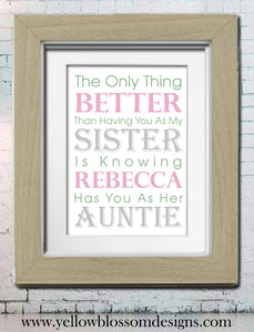 Best Sisters Promoted To Auntie ~ Personalised Bespoke Framed / Unframed Print