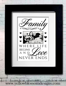 Beautiful Family Artwork Print ~ Personalised Bespoke Framed / Unframed Print - YellowBlossomDesignsLtd