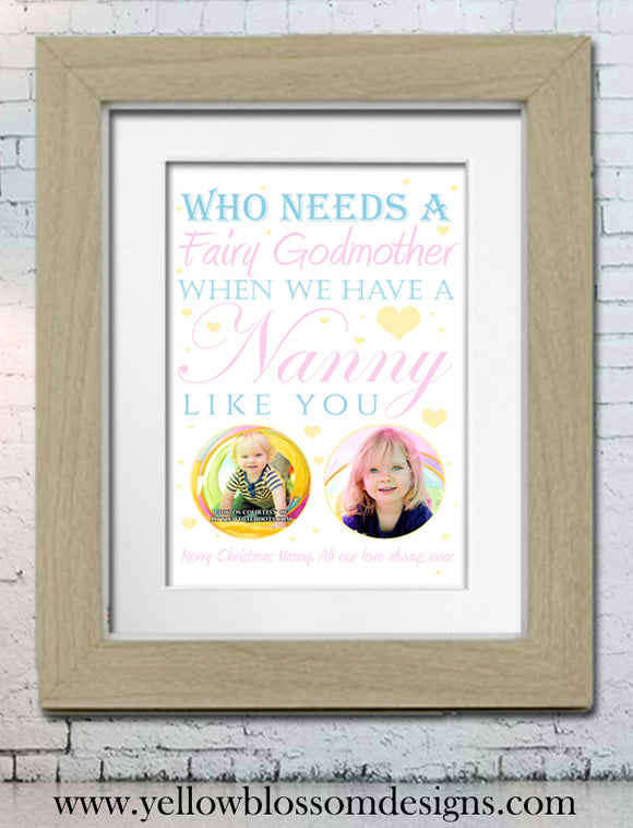 Fairy Godmother Nanny Nanna Gift ~ Printed Photo Wordart Print