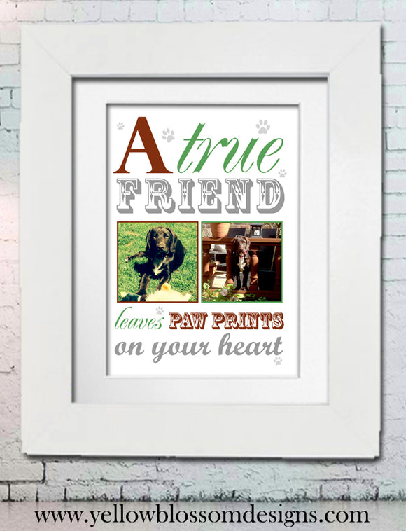 Dog Animal Love Word Art Print ~ With Photos ~ Paw Prints