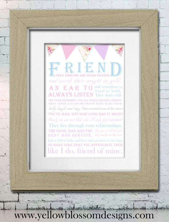 Friend Word Art Print ~ Best Friend ~ Great Gift